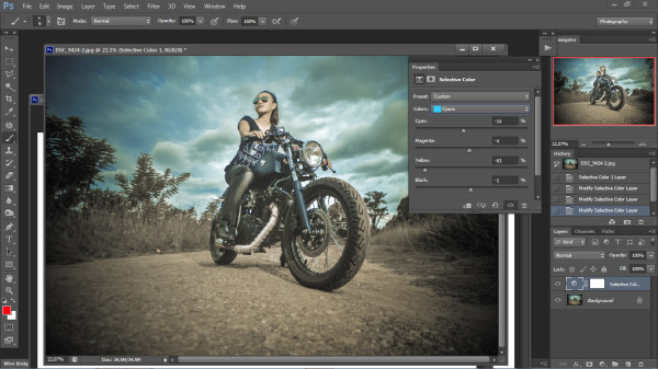 biker photography - photoshop step 3
