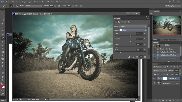 biker photography - photoshop step 2