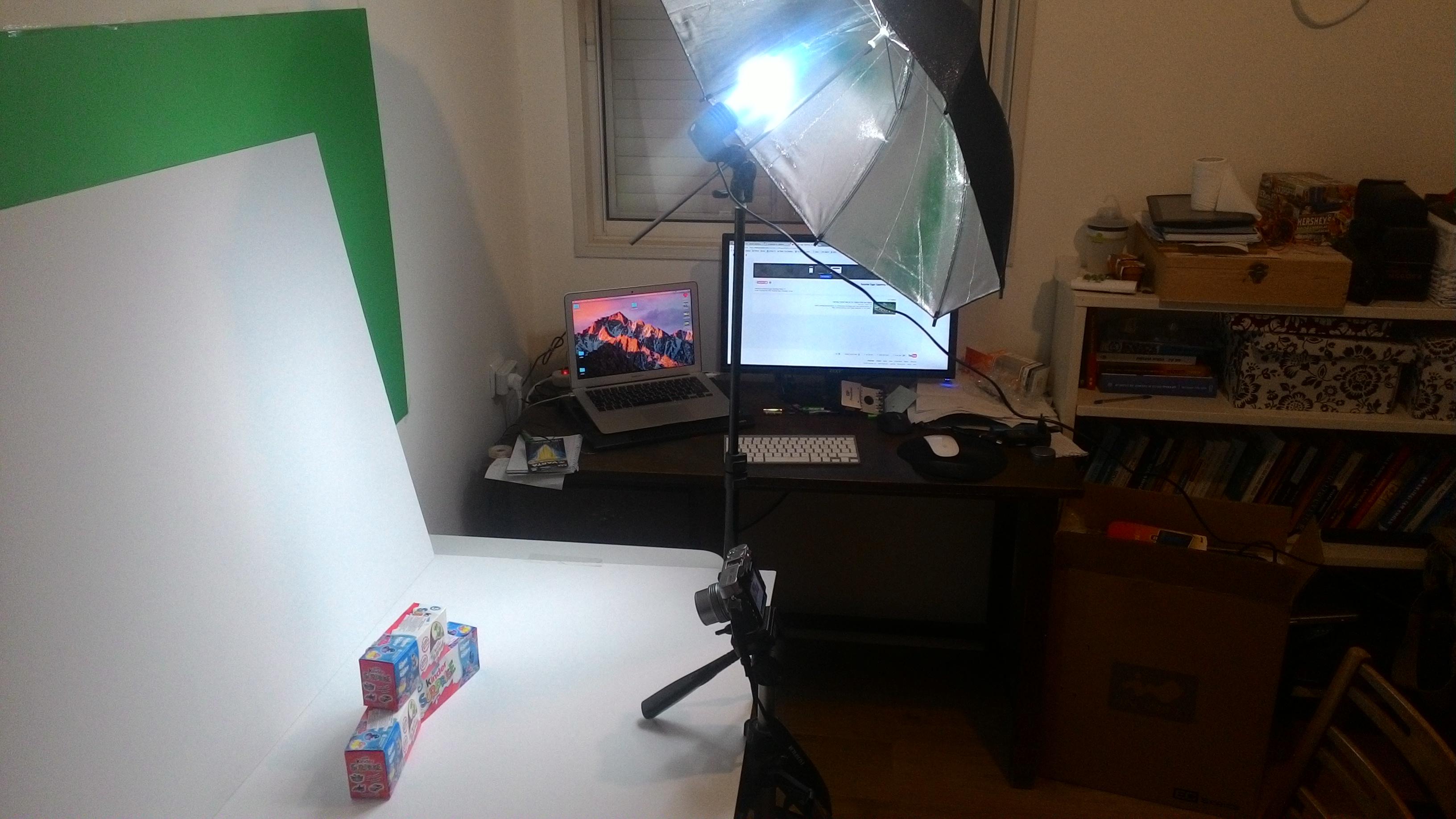 surprise eggs photography setup